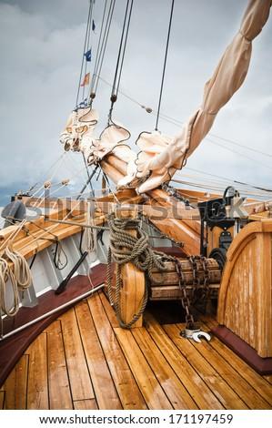 Close-up shot   sailing vessel - stock photo