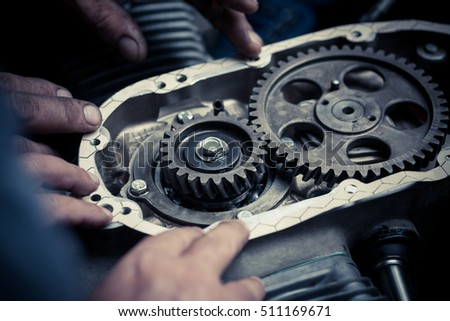 Stock Photo Close Up Shot The Timing Sprockets From A Boxer Motorcycle Engine on Subaru Boxer Cylinder Head