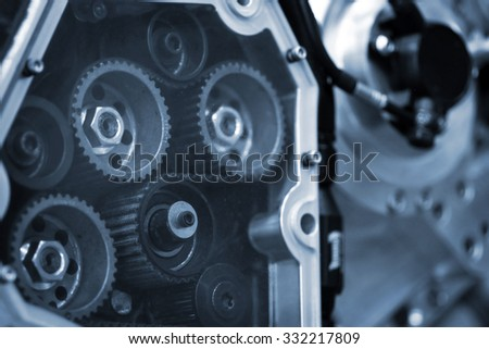 Close up shot with details of a motorcycle's engine. - stock photo