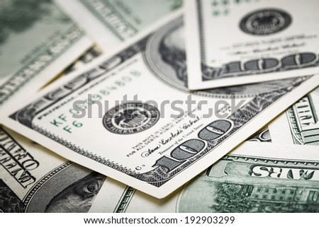 close-up shots in macro lens from one hundred dollars banknote