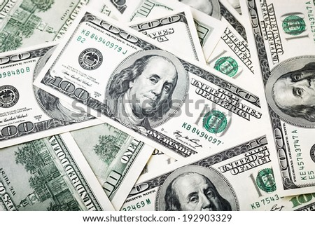 close-up shots in macro lens from one hundred dollars banknote - stock photo
