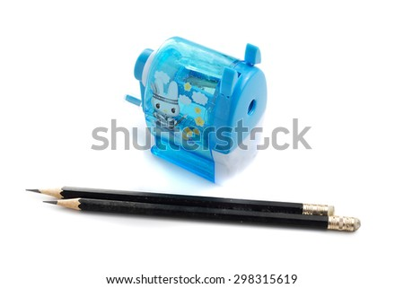 close up side use sharpener of pencil on the white background - stock photo