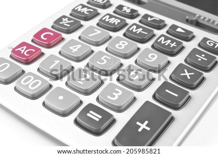 close up silver calculator on white - stock photo