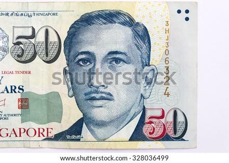 close up  50 singapore  banknote - stock photo