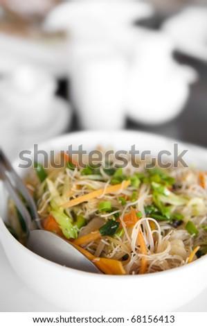 Close up Singapore fried rice noodles - stock photo
