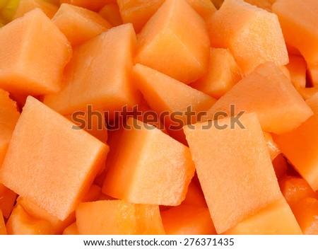 Close up slice of fresh melon. - stock photo
