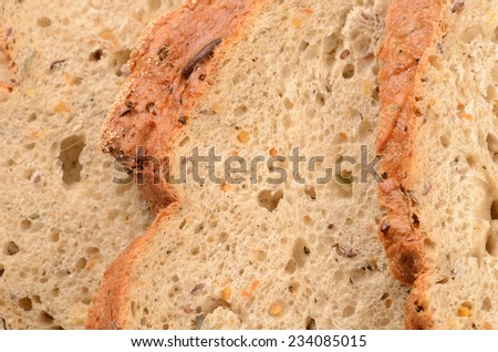 close up sliced loaf of bread  - stock photo