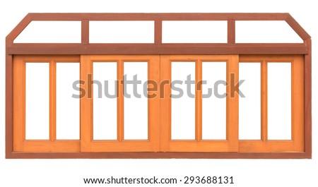 close up sliding wood window isolated on white background - stock photo