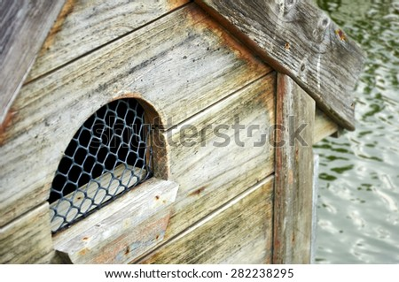 close up small window of the house. Soft focus and blur. - stock photo
