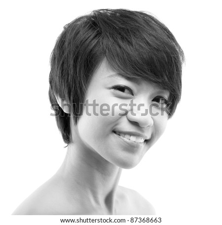 Close up Smiling Japanese Rock Girl Portrait - stock photo