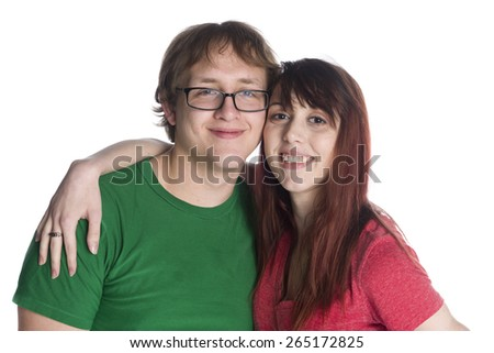 Close up Smiling Young Sweethearts in Casual Outfits Looking at the Camera So Close, Isolated on White Background.