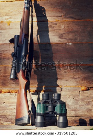 Close up snipers carbine at the outdoor hunting - stock photo