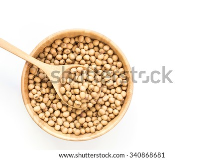 Close up soy beans in bowl isolated on white background - stock photo