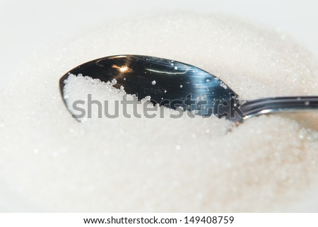 Close up Spoon with sugar