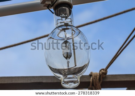 close up Squid fishing boat light bulb - stock photo