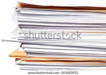 close up stack of paper on white background