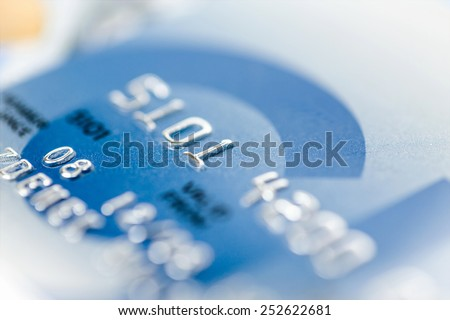 close up stacking credit cards , selective focus by very shallow focus - stock photo