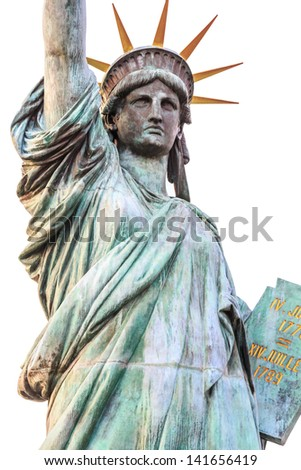 close up Statue of Liberty, isolated on white background. - stock photo