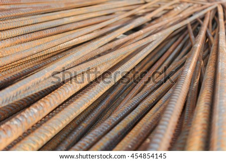 Close up steel bar at construction yard - stock photo