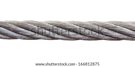 close up steel wire rope cable on white - stock photo