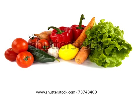 close-up still life with mixed vegetables, isolated on white background - stock photo