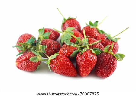 Close up strawberries on the white background