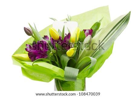 Close-up studio photograph of a bouquet of purple Alstroemeria flowers. - stock photo