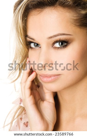 Close-up studio portrait of a sexy caucasian young woman, isolated on white background
