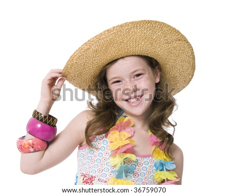 Close-up studio portrait of young girl in sunhat - stock photo