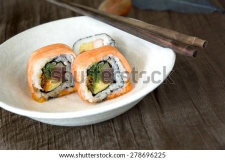 close up sushi on dish - stock photo