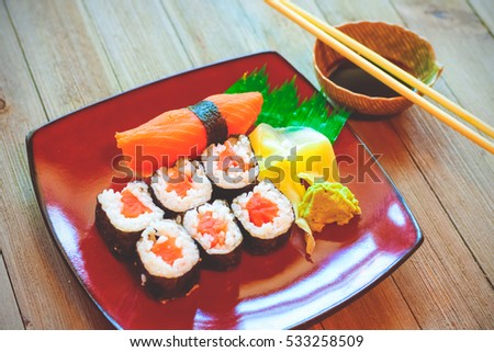 Close up sushi rolls / Selective focus