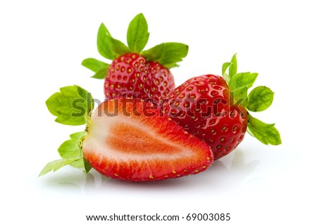 Close up sweet strawberries isolated on white background - stock photo