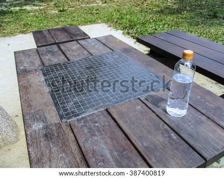 Close up tables and chairs in the park on bottled water