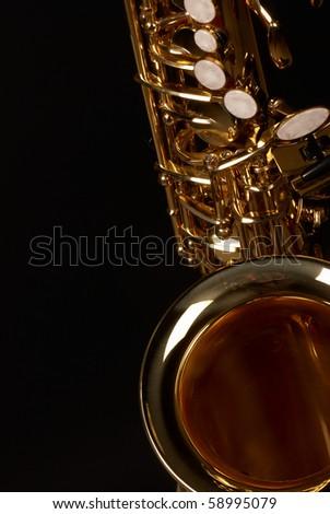 Close up take of a golden alto saxophone - stock photo