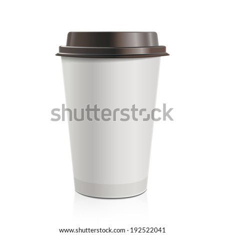 Close up take-out coffee with brown cap. Isolated on white background. Raster copy. - stock photo