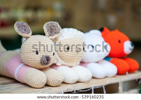 Close up teddy bears made of wool