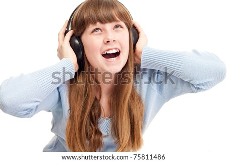 close up, teenager girl with headphones singing, isolated on white background - stock photo