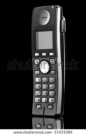 close-up telephone isolated on black - stock photo
