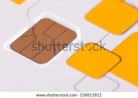Close up telephone sim card - stock photo
