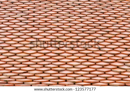 Close up Temple roof tile in thai style