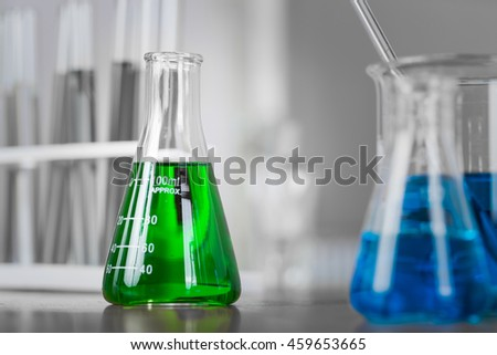 Close up test tube medical glassware on table. - stock photo