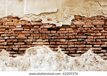 Close up  texture of old brick wall  for background - stock photo