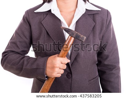 Close up Thai businesswoman holding hammer isolated on white background
