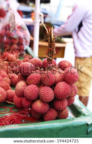close up thai lychee in market - stock photo
