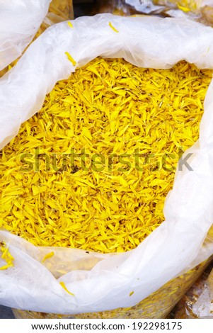 close up thai yellow flower in plastic bag - stock photo
