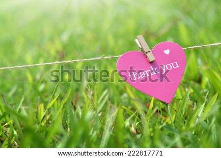 Close-up thank you card in the grass outdoors  - stock photo
