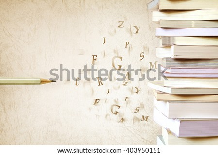 Close up the book stacked  with the pencil and alphabet letter flying , vintage color tone  - stock photo