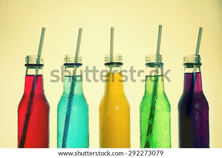 close up  the cool colorful drink , retro color tone or vintage style - stock photo