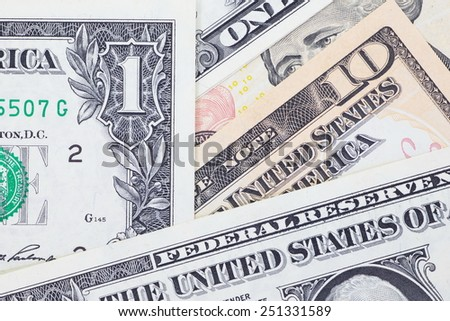 Close - up The dollar banknotes for business and finance concept