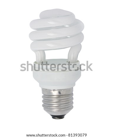 close up the energy saving lamp on a white background - stock photo
